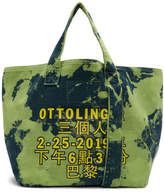 Ottolinger Green and Blue Small Denim Logo Tote
