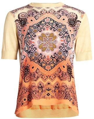Etro Paisley Silk Panel Short-Sleeve Sweater
