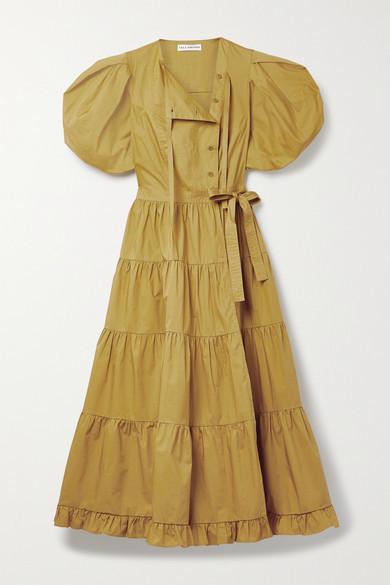 Ulla Johnson Agathe Tiered Cotton-poplin Wrap Midi Dress - Mustard