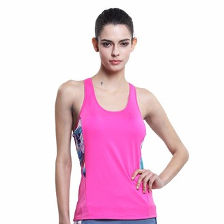 Equipment Women's Fitness Sleeveless Mesh Printed Yoga Vest Tank Tops Gym Workout Running Athletic Tops Rose Red