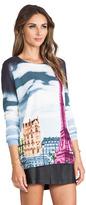 Tibi Eiffel Tower Printed Raglan Sweater