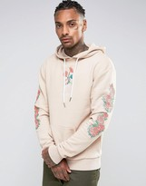 Hype Hoodie With Embroidered Floral Sleeves