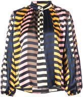 Apiece Apart contrast stripe print blouse