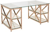 The Well Appointed House Mid Century Inspired Rose Gold Desk with Glass Top & Shelves - CURRENTLY ON BACKORDER UNTIL LATE JANUARY 2017