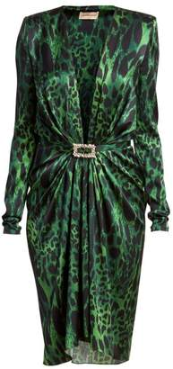 Alexandre Vauthier Stretch Satin V-Neck Lynx Print Sheath Dress