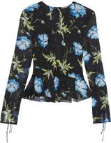 Topshop Evelyn Open-back Embellished Printed Silk-georgette Blouse