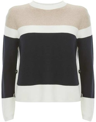 Mint Velvet Navy & Neutral Blocked Jumper