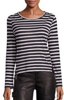 Frame Pintuck Long Sleeve Striped Tee