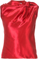 Oscar de la Renta tie neckline sleeveless blouse