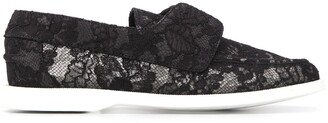 Le Silla Floral Lace Embroidered Slip-On Loafers