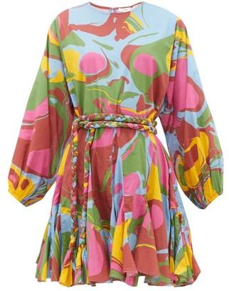 Rhode Resort Ella Marbled-print Cotton Mini Dress - Womens - Multi