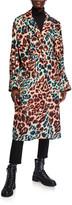 Moncler Perle Long Leopard-Print Coat