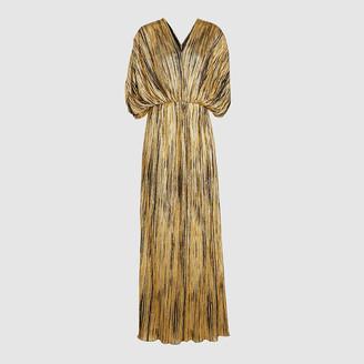 Dima Ayad Gold Pleated V-Neck Crepe Maxi Dress Size M