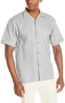 Stacy Adams Men's Linen Blend Solid Color Short Sleeve Shirt
