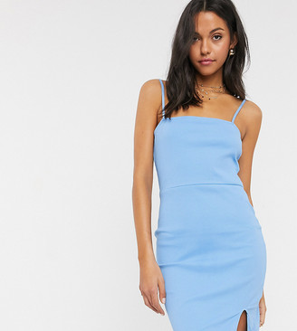 Asos DESIGN Tall square neck rib mini dress with split in chambray