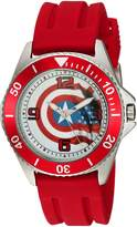 Marvel Men's 'Captain America' Quartz Stainless Steel and Rubber Casual Watch, Color: (Model: WMA000015)