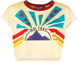 Dolce & Gabbana Holiday print cropped T-shirt