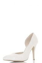 Quiz White Lace Cut Out Court Shoes