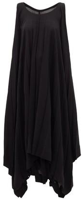 Issey Miyake Parasol Handkerchief-hem Pleated Voile Dress - Womens - Black