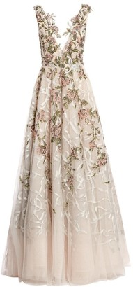 Marchesa Beaded Tulle Plunging V-Neck Gown