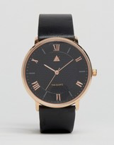Asos Leather Strap Watch With Rose Gold Highlights