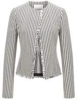 HUGO BOSS Striped Cotton Boucle Jacket Komina 6 Patterned