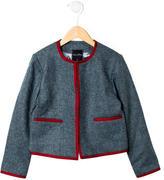 Oscar de la Renta Girls' Chevron Wool Jacket