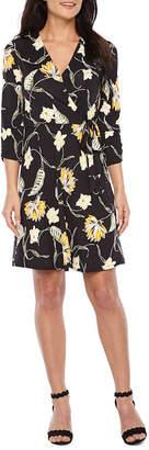 Alyx 3/4 Sleeve Floral Puff Print Wrap Dress