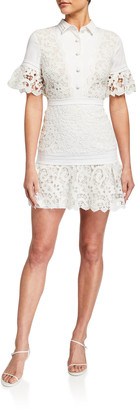 Alexis Liberty Collared Short-Sleeve Lace Dress