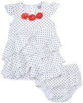 Petit Lem Cutie Rosie Dress with Diaper Cover (Baby) - White-9 Months