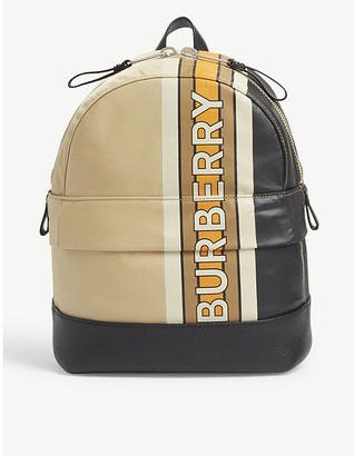 Burberry Kids Nico striped leather backpack
