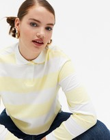 Thumbnail for your product : Monki organic cotton striped polo shirt in yellow