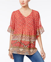 Style&Co. Style & Co Petite Mixed-Print Pintucked Top, Only at Macy's