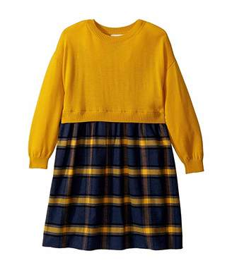 Oscar de la Renta Childrenswear Plaid Flannel Dress with Knit (Toddler/Little Kids/Big Kids)