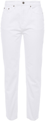 Ksubi Cropped Embroidered High-rise Slim-leg Jeans