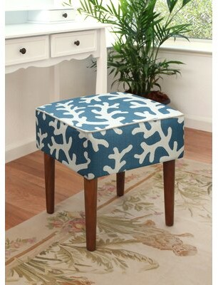 Bay Isle Home Cayson Coastal Coral Upholstered Vanity Stool Color: Navy Blue