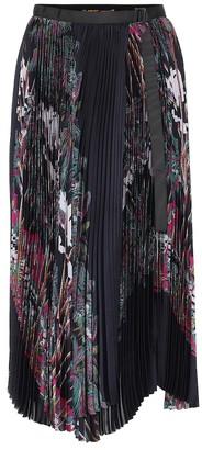 Sacai Printed asymmetric pleated skirt