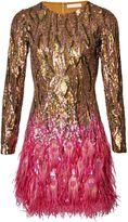 Matthew Williamson Bronze Liquid Sequin Peacock Feather Dress