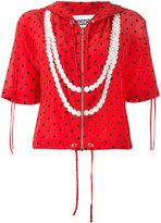 Moschino polka dot trompe-l'oeil pearl hoodie - women - Silk - 40
