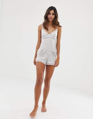 Dorina Ady modal lace trim pyjama short in grey