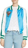 Maje Bianca Teddy Color-Blocked Bomber Jacket