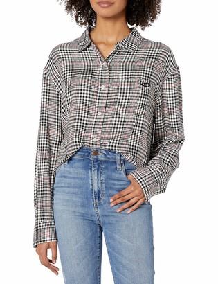 Volcom Women's Junior's Fad Friend Drop Shoulder Button Up Shirt