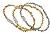 DIAMOND JEWELRY NY sterling-silver & Cubic Zirconia Tri-color Pave Set Stretch Beed Bracelets