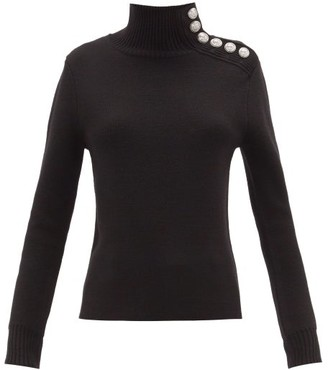 Paco Rabanne Milano Merino Wool Button-embellished Sweater - Womens - Black