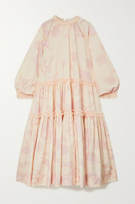 MINJUKIM Oversized Tulle-trimmed Tiered Printed Poplin Midi Dress - Ivory