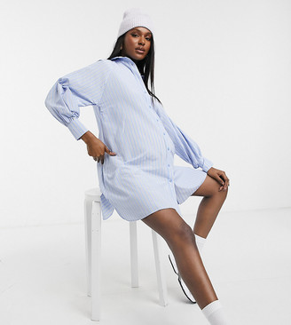 ASOS DESIGN Maternity cotton poplin oversized boyfriend mini shirt dress in stripe