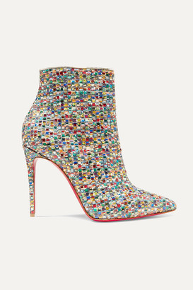 Christian Louboutin So Kate 100 Embellished Tweed Ankle Boots - Metallic