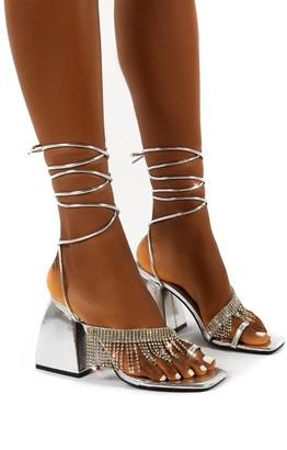 Public Desire Uk Peri Lace Up Diamante Fringe Detail Toe Loop Chunky Heel
