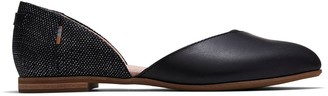 Toms Black Leather Foil Women's Julie D'Orsay Flats