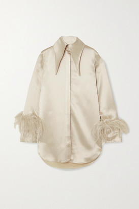 16Arlington Seymour Feather-trimmed Satin Shirt - Beige